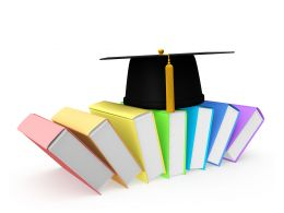 Colorful Books With Graduation Cap Stock Photo