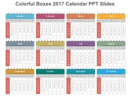 colorful boxes 2017 calendar ppt slides