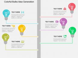 Colorful Bulbs Idea Generation And Business Application Flat Powerpoint Design
