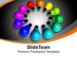 Colorful Bulbs In Circular Manner Technology Powerpoint Templates Ppt Themes And Graphics 0113