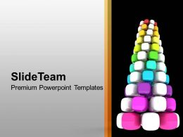 Colorful Cubes Arranged To Form Tree Decoration Powerpoint Templates Ppt Themes And Graphics 0113