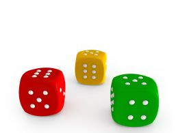 Colorful Dices Isolated On White Background Stock Photo