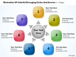 colorful diverging circles and arrows 7 stages Circular Flow Network PowerPoint templates