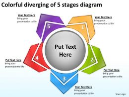 colorful diverging of 5 stages diagram Arrows Chart Software PowerPoint Slides