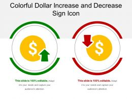Colorful Dollar Increase And Decrease Sign Icons