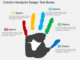 Colorful Handprint Design Text Boxes Flat Powerpoint Design