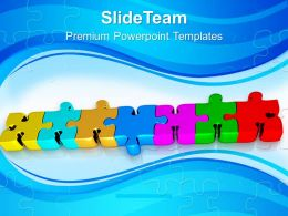 Colorful Jigsaw Puzzles In Line Business Powerpoint Templates Ppt Themes And Graphics 0213