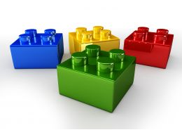 Colorful Legos Displaying Team Unity Stock Photo