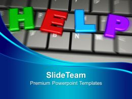 Colorful Letters Of Help Word On Keyboard Powerpoint Templates Ppt Themes And Graphics 0213
