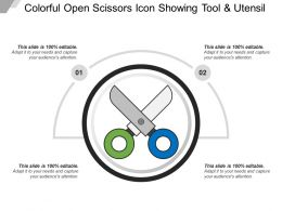 Colorful Open Scissors Icon Showing Tool And Utensil