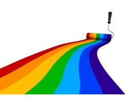 Colorful Path Made By Roller Stock Photo