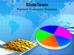 Colorful Pie Chart And Coins Finance Growth PowerPoint Templates PPT Themes And Graphics 0213
