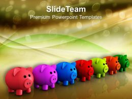 Colorful Piggy Bank Savings Future PowerPoint Templates PPT Themes And Graphics 0213
