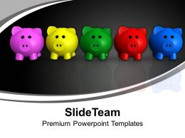 Colorful Piggy Banks Future Savings Powerpoint Templates Ppt Backgrounds For Slides 0113