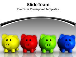 Colorful Piggy Banks Money Saving Concept PowerPoint Templates PPT Themes And Graphics 0113