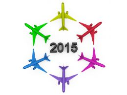 Colorful Planes In Circle With 2015 Year Text Stock Photo