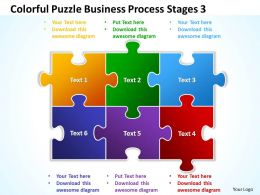 Colorful Puzzle Business Process Stages 3 Powerpoint Templates ppt presentation slides 812