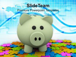 Colorful Puzzles And Piggy Bank Powerpoint Templates Ppt Themes And Graphics