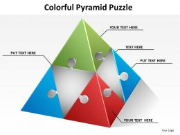 colorful pyramid made of puzzle pieces connected powerpoint templates 0712