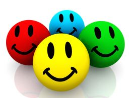 Colorful Smileys On White Background Stock Photo