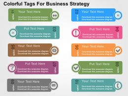 Colorful Tags For Business Strategy Flat Powerpoint Design