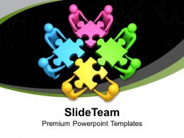 Colorful Team Joining Puzzles Solution Powerpoint Templates Ppt Themes And Graphics 0213
