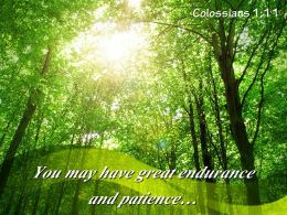 Colossians 1 11 You May Have Great Endurance Powerpoint Church Sermon