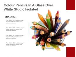 Colour Pencils In A Glass Over White Studio Isolated