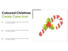 Coloured Christmas Candy Cane Icon