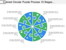 Coloured Circular Puzzle Process 10 Stages Template