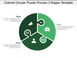 Coloured Circular Puzzle Process 3 Stages Template