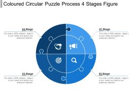 Coloured Circular Puzzle Process 4 Stages Figure