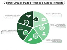 Coloured Circular Puzzle Process 5 Stages Template