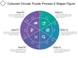 Coloured Circular Puzzle Process 6 Stages Figure