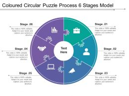 Coloured Circular Puzzle Process 6 Stages Model