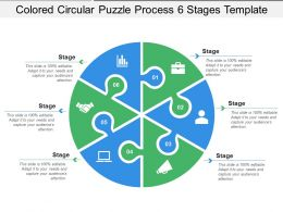 Coloured Circular Puzzle Process 6 Stages Template