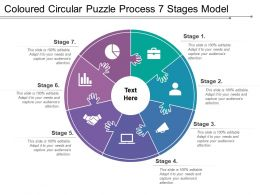 Coloured Circular Puzzle Process 7 Stages Model