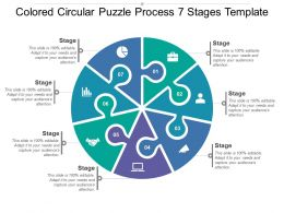 Coloured Circular Puzzle Process 7 Stages Template