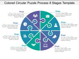 Coloured Circular Puzzle Process 8 Stages Template
