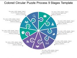 Coloured Circular Puzzle Process 9 Stages Template