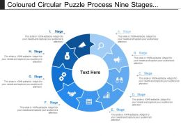 Coloured Circular Puzzle Process Nine Stages Pattern