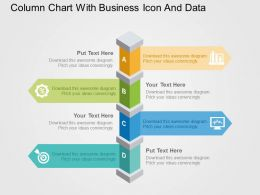 Column Chart With Business Icon And Data Flat Powerpoint Design