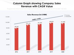 Column Graph Showing Company Sales Revenue With CAGR Value