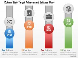 Column Style Target Achievement Suitcase Diary Flat Powerpoint Design