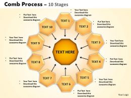 Comb Process 10 Stages Powerpoint Slides And Ppt Templates 0412