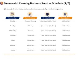 Commercial Cleaning Business Services Schedule Polishing Ppt Ideas