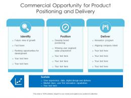 Commercial Opportunity For Product Positioning And Delivery
