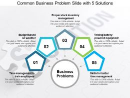 Common Business Problem Slide With 5 Solutions