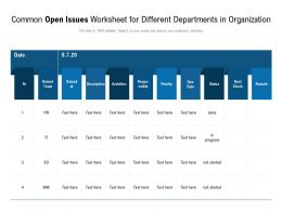 Common Open Issues Worksheet For Different Departments In Organization