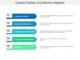 Common Practices Of Continuous Integration